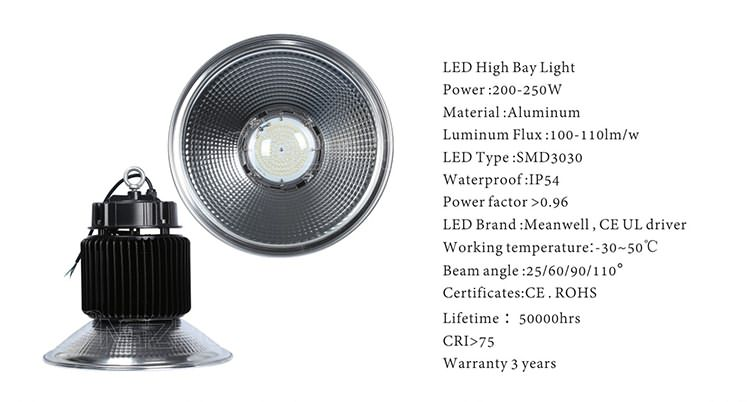 200-250w highbay led lights