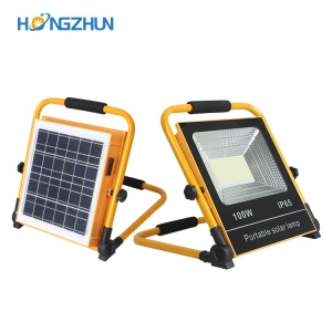 Portable solar rechargeable 50watt 100watt ip66 waterproof outdoor smd led work flood light